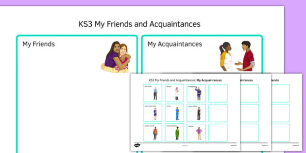 KS3 My Friends and Acquaintances Sorting Activity - ks3, my friends, acquaintances, sorting, activity