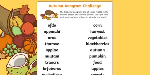Autumn Anagram Challenge