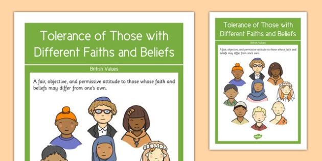 Tolerance of Those with Different Faiths and Beliefs British Values Display Poster - british values, display poster, display, poster, tolerance of those with different faiths and beliefs