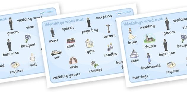 Wedding Word Mat - Wedding, word mat, writing aid, weddings, marriage, bride, groom, church, priest, vicar, dress, cake, ring, rings, bridesmaid, flowers, bouquet, reception, love
