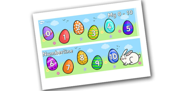 My Number Line 0-10 (Easter) - numbers, numerline, number line, easter, eggs, good Friday, easter numberline, easter counting, counting, counting on, counting back, maths, math, numeracy, number track, number strip