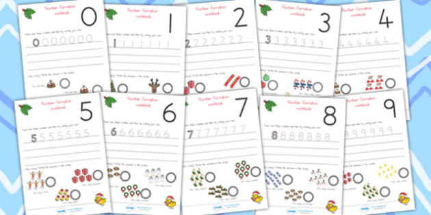 Australia Christmas Number Formation Worksheets 0-9 - christmas, numbers, overwriting