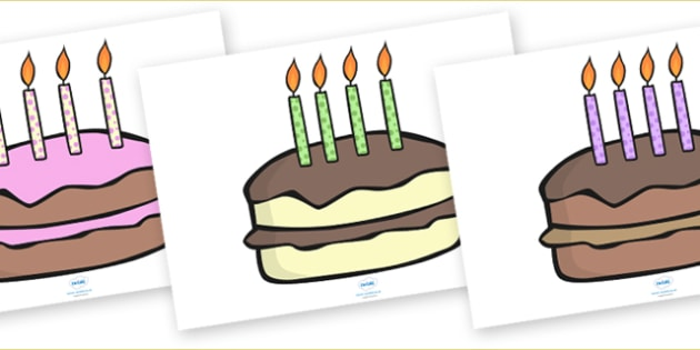 Editable Birthday Cakes (4 Candles) - Birthday, cake, editable, candles, birthday poster, birthday display, months of the year, cake, balloons, happy birthday