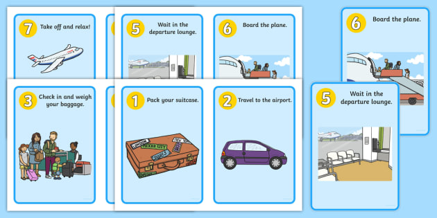 Going on a Plane Journey Sequencing Cards - Holidays, holiday, travel, cards, flashcards, sequencing, plane journey, agent, booking, plane, flight, hotel