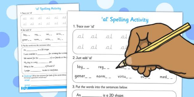 al Spelling Activity - spelling activity, al, activity, spelling