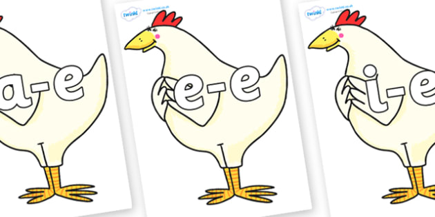Modifying E Letters on Hullabaloo Chicken to Support Teaching on Farmyard Hullabaloo - Modifying E, letters, modify, Phase 5, Phase five, alternative spellings for phonemes, DfES letters and Sounds