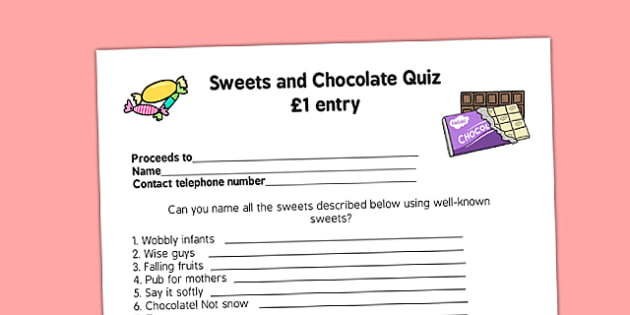 Sweets and Chocolate PTA Fundraising Quiz - sweets, chocolate, pta, fundraising, quiz