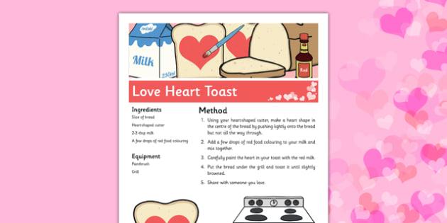 Love Heart Toast Recipe - toast, breakfast, heart, love, valentines