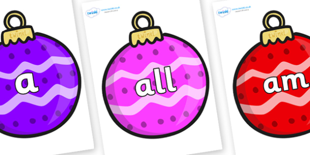 Foundation Stage 2 Keywords on Patterned Baubles (Multicolour) - FS2, CLL, keywords, Communication language and literacy,  Display, Key words, high frequency words, foundation stage literacy, DfES Letters and Sounds, Letters and Sounds, spelling