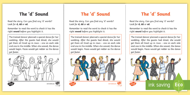 Northern Ireland Linguistic Phonics Stage 5 and 6 Phase 3b, 'd' Sound Activity Sheet - Linguistic Phonics, Phase 3b, Northern Ireland, 'd' sound, sound search, text, Worksheet