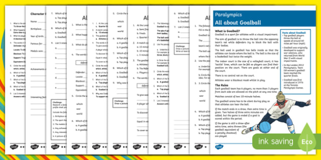 Goalball  Differentiated Comprehension Challenge Sheets-Australia