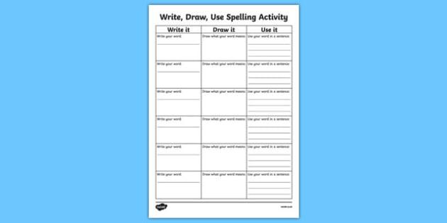 Write it, Draw it, Use it Spelling Activity Sheet, worksheet