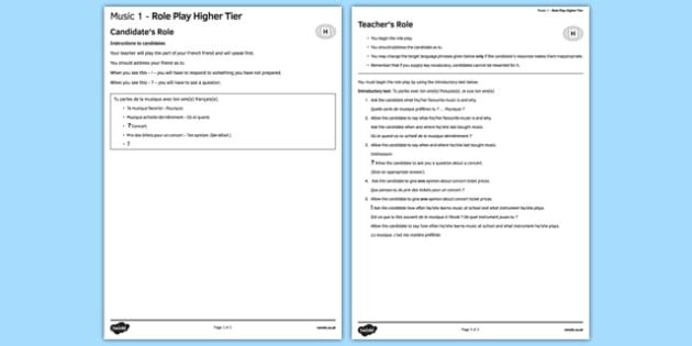La musique 1 Jeu de rôle Higher Tier - french, Music, musique, role play, higher, speaking