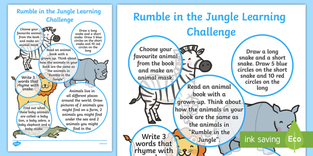 EYFS Home Learning Challenge Sheet Reception FS2 to Support Teaching on Rumble in the Jungle - rumble in the jungle