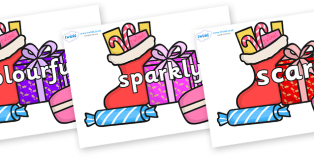 Wow Words on Christmas Gifts - Wow words, adjectives, VCOP, describing, Wow, display, poster, wow display, tasty, scary, ugly, beautiful, colourful sharp, bouncy