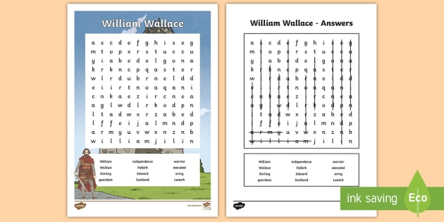 William Wallace Word Search - CfE Scottish Significant Individuals, William Wallace, word search, Scottish Wars of Independence,Sc