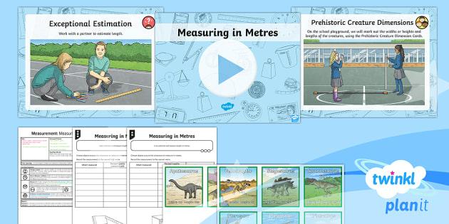 PlanIt Y3 Measurement Lesson Pack Length (2) - Measurement, measuring, length, height, metre, distance, estimate,metre ruler, metre rule, tape meas