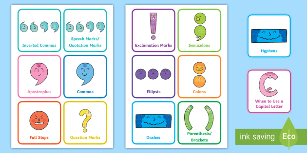 Punctuation Signs and Names Flash cards - Punctuation Primary Resources, Punctuation, SPaG, SPaG Resources