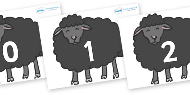Numbers 0-31 on Baa Baa Black Sheep - 0-31, foundation stage numeracy, Number recognition, Number flashcards, counting, number frieze, Display numbers, number posters