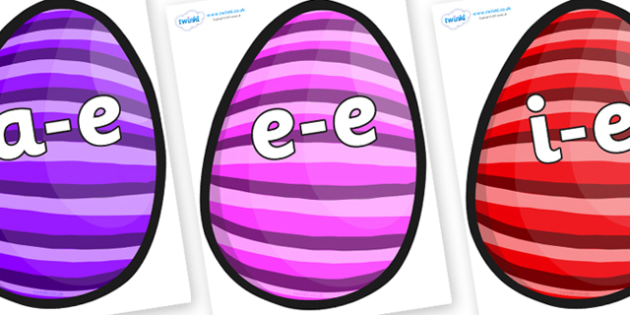 Modifying E Letters on Easter Eggs (Stripes) - Modifying E, letters, modify, Phase 5, Phase five, alternative spellings for phonemes, DfES letters and Sounds