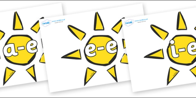 Modifying E Letters on The Sun - Modifying E, letters, modify, Phase 5, Phase five, alternative spellings for phonemes, DfES letters and Sounds