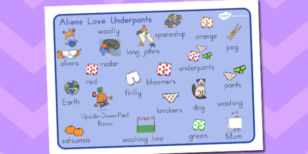 Word Mat Images to Support Teaching on Aliens Love Underpants - australia, aliens, underpants