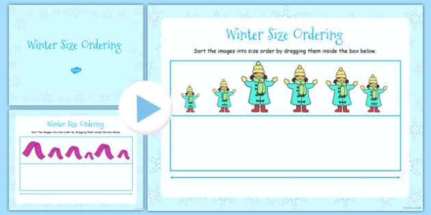 Winter Size Ordering Activity Notebook - winter, size ordering, activity, notebook, size, ordering