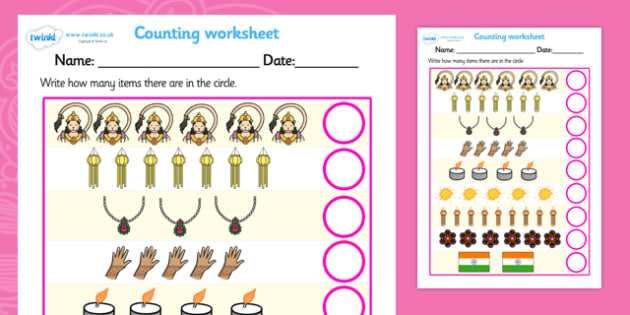 Diwali Counting Worksheet - diwali, counting, worksheet, diwali worksheet, addition worksheet, counting and addition, addition, numeracy, adding, plus