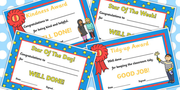 School Role Play Certificates - School Role Play Pack, school role play, register, teacher, stickers, certificates, reading diary, role play, display, poster