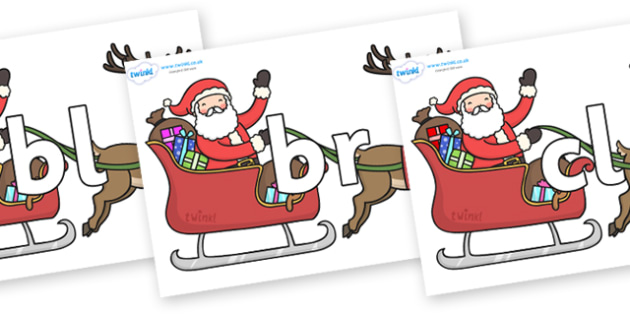 Initial Letter Blends on Santa in Sleigh - Initial Letters, initial letter, letter blend, letter blends, consonant, consonants, digraph, trigraph, literacy, alphabet, letters, foundation stage literacy