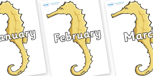 Months of the Year on Seahorses - Months of the Year, Months poster, Months display, display, poster, frieze, Months, month, January, February, March, April, May, June, July, August, September