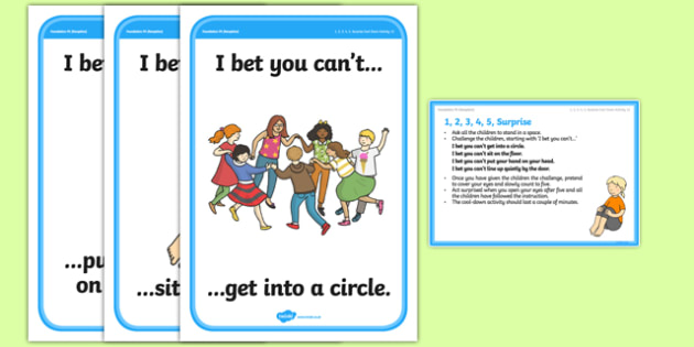 Foundation PE (Reception) I, 2, 3, 4, 5 Surprise Cool-Down Activity Card - physical activity, foundation stage, physical development, games, dance, gymnastics