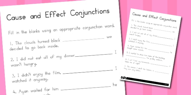 Cause and Effect Conjunctions Worksheet - australia, Connectives