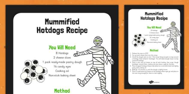 Mummified Hotdogs Recipe -food, instructions, halloween, KS1, KS2