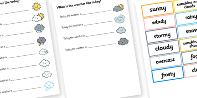 Today the Weather is Sentence Completer - weather, literacy