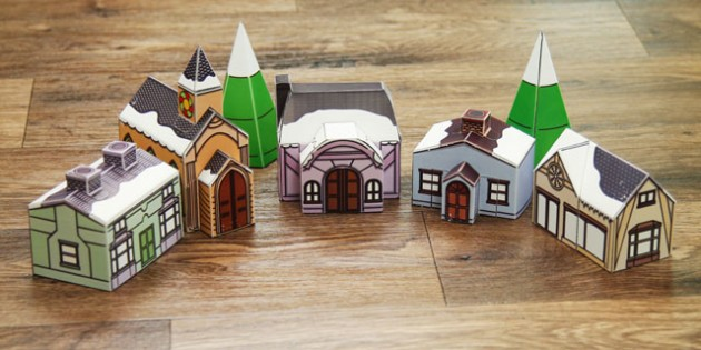 Christmas Village Display Paper Model Printable - christmas village, display, paper model, craft