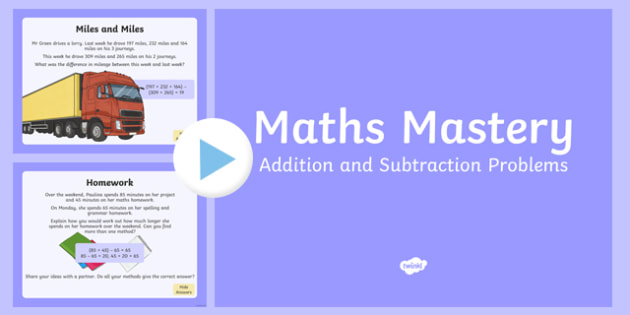 Year 6 Calculation Addition and Subtraction Problems Maths Mastery Activities PowerPoint