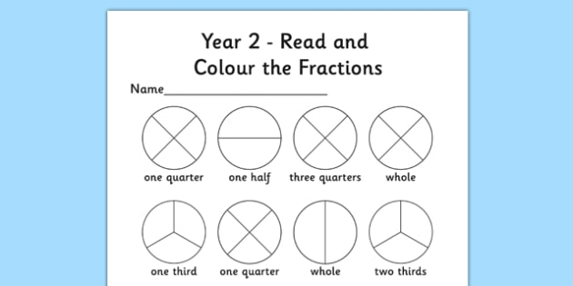 Year 2 Read and Colour a Fraction Activity Sheet - fractions, colours, reading, worksheet