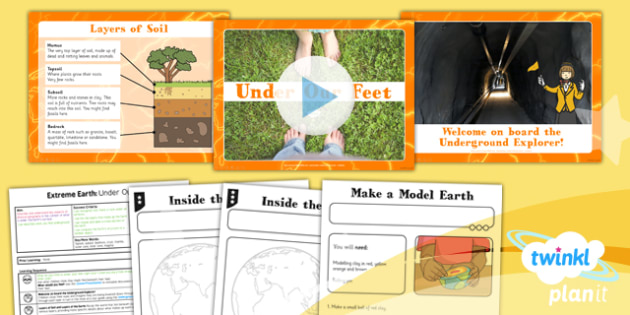 PlanIt - Geography Year 3 - Extreme Earth Lesson 1: Under Our Feet Lesson Pack