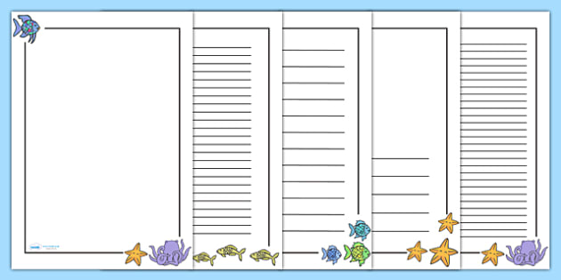 Page Borders to Support Teaching on The Rainbow Fish - The Rainbow Fish, Marcus Pfister, resources, Rainbow Fish, PSHE, PSE, octopus, shimmering scales, starfish, friendship, under the sea, sea, story, story book, story book resources, story sequenci