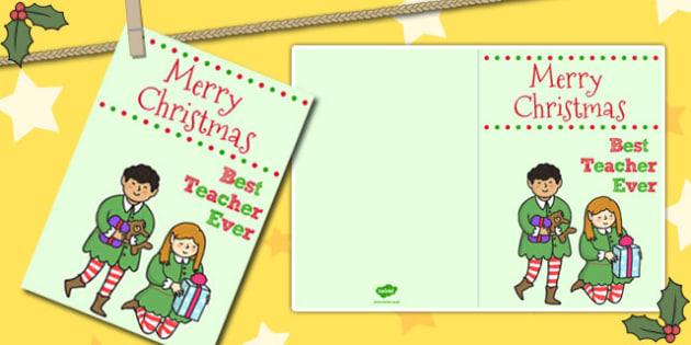 Best Teacher Ever Christmas Card - christmas card, card, teacher
