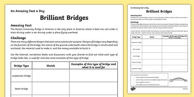 Brilliant Bridges Activity Sheet, worksheet