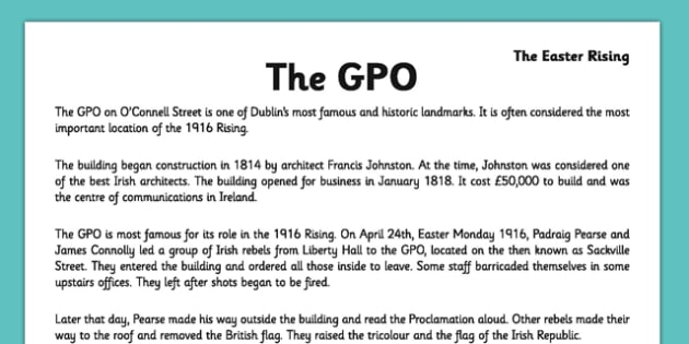 Irish History 1916 Rising The GPO Comprehension Activity Sheet - irish history, 1916 rising, easter rising, comprehension, gpo, ireland, worksheet