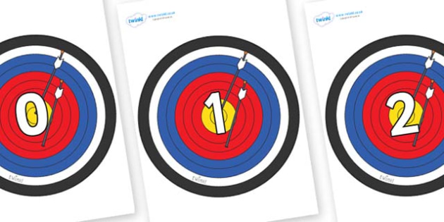 Numbers 0-31 on Archery Targets - 0-31, foundation stage numeracy, Number recognition, Number flashcards, counting, number frieze, Display numbers, number posters