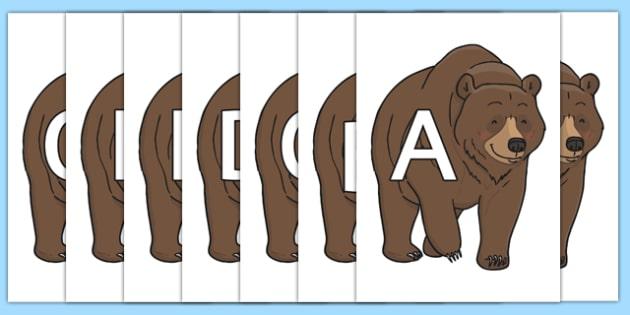 A-Z Alphabet on Bear - A-Z, A4, display, Alphabet frieze, Display letters, Letter posters, A-Z letters, Alphabet flashcards