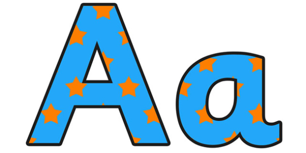 Blue and Orange Stars Lowercase Display Lettering - display lettering