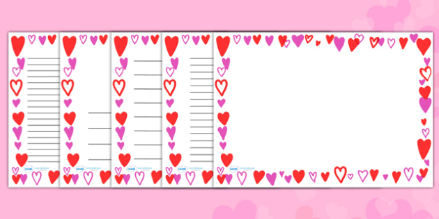 Heart Full Page Borders (Landscape) - page border, border, frame, writing frame, writing template, heart page borders, hearts, heart borders, love heart page borders, heart full page borders, landscape heart page borders, writing aid, writing, A4 pag