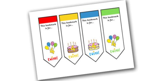 Editable Birthday Bookmarks (Age 4) - Bookmark, birthday, age 2, birthday gift, present, book, reward, achievement