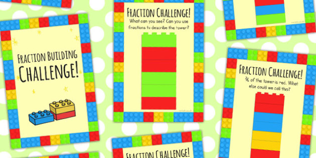 Building Fraction Challenge Cards - challenge card, fraction