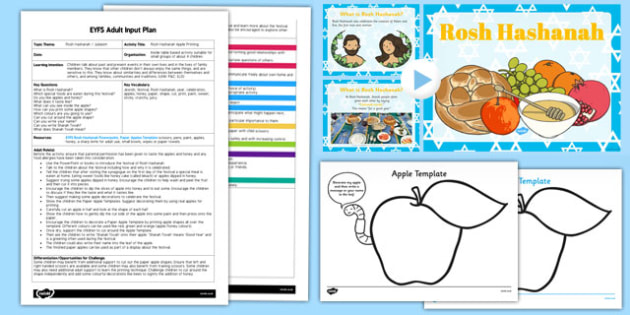 Rosh Hashanah Apple Printing EYFS Adult Input Plan and Resource Pack